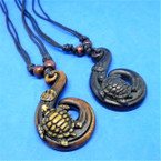 "DBL Leather Cord Necklaces w/ 2"" Pendant w/ Turtle .54 each"