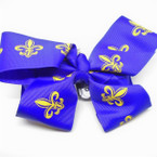"6"" Dark Purple Gator Clip Bows w/ Gold Fleur de lis  .54 each"