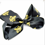 "6"" All Black Gator Clip Bows w/ Gold Fleur de lis  .54 each"