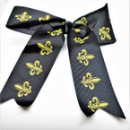 "6"" All Black Gator Clip Tail Bows w/ Gold Fleur de lis  .54 each  GO SAINTS"