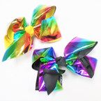 "5"" Rainbow Shiney Metallic Gator Clip Bows  .54 each"