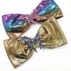 """5.5""""  Shiney Metallic Gator Clip Bows w/ Sparkle Unicorn   .54 each"""
