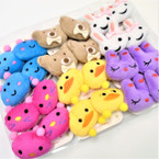 Cute Plush Animal Ponytail Holders 12 Pairs per bx .54 per pair
