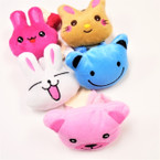 3.5 Cute Plush Animal Ponytail Holders 12 pack .54 per pair