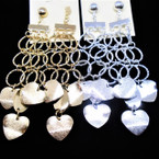 "4"" Gold & Silver Matt Finish Dangle Disc & Heart Metal Earrings .54 each pair"