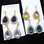 "1.25"" Elegant Oval Gemstone & Clear Crystal Stone Earrings .54 each pair"