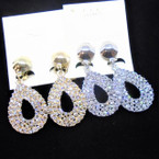 "2"" Elegant Gold/Silver Oval Clear Crystal Stone CLIP ON Earrings .54 each pair"