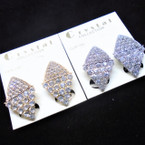"1"" Elegant Gold/Silver Triangle Clear Crystal Stone CLIP ON Earrings .54 each pair"