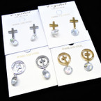 Petite Gold & Silver Stainless Steel Cross Earrings w/ Crystal .54 per pair
