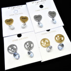 Petite Gold & Silver Stainless Steel LOVE Earrings w/ Crystal .54 per pair