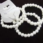 Great Value 3 Pk Glass Bead Stretch Bracelet & Earrings Set White .54 ea set