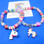 Kid's Bead Bracelets w/ Crystals & Unicorn Charm 12 per pk .54 each