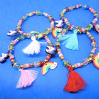 Kid's Bead Bracelets w/ Fringes,Rainbow & Unicorn Charm 12 per pk .54 each
