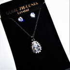 Cubic Zirconia Necklace & Earring Set w/ Pear Shaped Pendant .54 per set