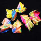 "5"" 2 Layer Solid & Metallic Print Gator Clip Bows .54 each"