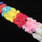 "3.5"" Gator Clip Bows w/ Gold Crown & Lace 24 per pk .25 each"