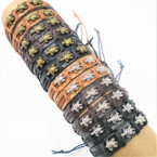 Teen Leather Bracelet w/ Gold & Silver Mini Turtles   .54 each