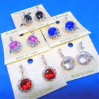 Rhinestone French Pcd Clip Earrings w/ Gemstone  .54 each pair