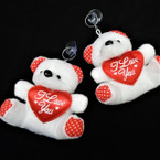 "3.5"" X 4.5"" Plush White Bear Keychain w/ I Love You Pillow 12 per pk .62 each"