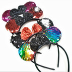 Sequin Change Color Mouse Ear Headbands w/ Sparkle Bow .54 each
