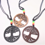 Leather Cord Necklace w/ Rasta Color Beads & Wood Tree of Life Pend. .54 each