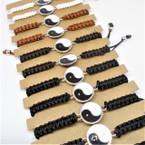 Macrame Bracelets w/ Blk & White Ying Yang  12 per card .54 each