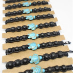 Black Macrame Bracelet w/ Black Beads & Turquoise Turtle 12 per cd .54 each