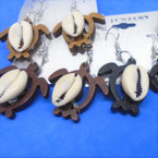 "1"" Cute Turtle Wood Earrings w/ Cowrie Shell .54 per pair"