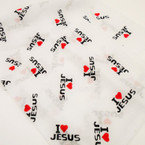 "All White 20"" Square I Love Jesus Bandana .54 each"
