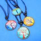 DBL Leather Cord Necklace w/ Glass Tree of Life Pendant  .58 each