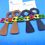 "3.5"" Cross Wood Earrings w/ Rasta Color BOSS .54 each pair"