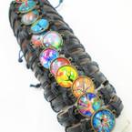 Teen Leather Bracelet w/ Round Tree of Life Theme  .54 ea