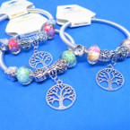 Silver Spring Style Bracelet w/ Tree of Life & Mixed Charms  .54 ea