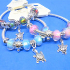 Silver Spring Style Bracelet w/ Turtle & Mixed Charms  .56 ea