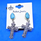 Cast Silver Cross Earring w/ Turquoise Bead .54 each pair
