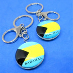 DBL Sided Bahamas Flag Glass Keychains 12 per pk .54 each