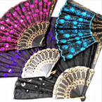 "9"" Mixed Color Sequin Hand  Fan  w/ Black Handle  12 per pk  .56 ea"