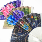 "9"" Mixed Color Flower Print w/ Gold Hand  Fan  White  Handle  12 per pk  .54ea"
