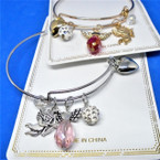 Gold & Silver  Wire Bangle w/ Angel Theme Charms & Crystal   .54 each