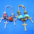 Pandora Style Charm Bracelets w/ Glass Beads & Cross Charms  .56 ea