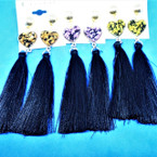 "4"" Black Tassel Fashion Earring w/ Colorful Heart Top .54 ea pair"