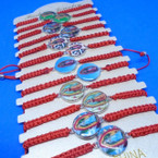 Red Macrame Bracelet w/ Mixed Guadalupe  Charm 12 per card .54 each