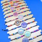 Multi Color Bead Cord  Bracelets w/ Mixed Style Charm 12 per card .54 each