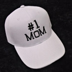 #1 MOM Embroidered Baseball Caps WHITE 12 per pk $ 2.75 each