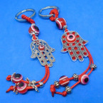 Red Color Hamsa Keychains w/ Eye of Protection  Beads 2 styles   .54 ea