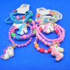 Cute Easter Color 3 Strand Kids Stretch Unicorn Theme Bracelets .50 per set