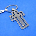 """Best Quality 2"""" Metal Spinning Center Cross Keychains 12 per pk .56 each"""