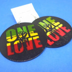 "3.25"" Black Wood Earring w/ Rasta Color One LOVE  .54 per pair"