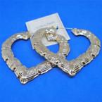 "3"" Metal Heart Bamboo Pin Catch Earrings Gold   .54 per pair"