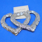 "3"" Metal Heart Bamboo Pin Catch Earrings Silver    .54 per pair"